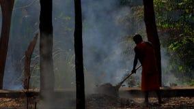 Uomini che spazzano e che puliscono le foglie secche sul giardino video d archivio