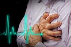 Uomini con dolore toracico - attacco di cuore Fotografia Stock Libera da Diritti