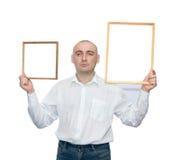 Uomini con due blocchi per grafici Fotografia Stock Libera da Diritti