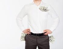 Uomini con i dollari in caselle Fotografia Stock Libera da Diritti
