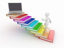 Uomini con i libri ed il computer portatile Fotografia Stock