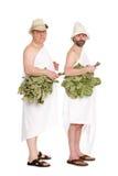 Uomini con i ramoscelli della quercia per il bagno russo Immagine Stock Libera da Diritti