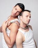 Uomini con la catena d'acciaio in biancheria intima Fotografia Stock