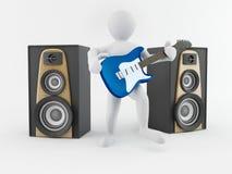 Uomini con la chitarra e l'altoparlante Fotografia Stock