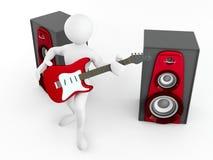 Uomini con la chitarra e l'altoparlante Fotografie Stock