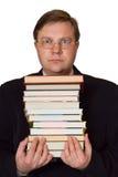 Uomini con la pila di libri Fotografie Stock