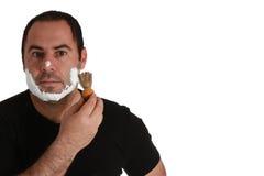 Uomini con la spazzola di rasatura Immagini Stock Libere da Diritti