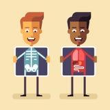 Uomini con lo schermo dei raggi x che mostra i loro organi Fotografia Stock Libera da Diritti