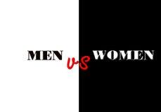Uomini contro le donne che scrivono sul fondo in bianco e nero Fotografie Stock
