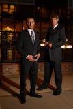 Uomini d'affari alla notte fotografie stock libere da diritti