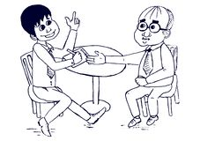 Uomini d'affari che fanno i personaggi dei cartoni animati di un vettore di affare illustrazione vettoriale