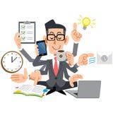 Uomini d'affari che hanno messo sopra i vetri per rendere l'elaborazione multitask facile illustrazione di stock