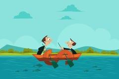 Uomini d'affari che navigano la barca del dollaro Fotografia Stock
