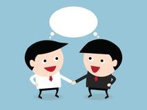 Uomini d'affari che stringono le mani e discorso in bianco, VETTORE, EPS10, piano Immagini Stock
