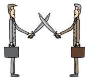 Duellare della spada degli uomini d'affari Fotografia Stock Libera da Diritti