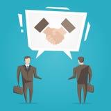 Uomini d'affari con l'illustrazione di vettore della nuvola di discorso della stretta di mano illustrazione di stock