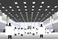Uomini d'affari con la scheda nel centro di affari illustrazione vettoriale