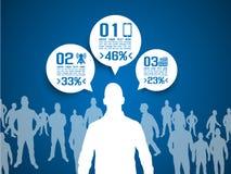 Uomini d'affari di Infographic con fondo blu Fotografia Stock Libera da Diritti