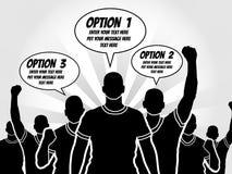 Uomini d'affari di Infographic con i fumetti per scrivere le opzioni dentro Fotografia Stock