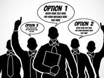Uomini d'affari di Infographic con i fumetti per scrivere le varie opzioni dentro Immagini Stock