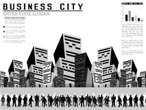 Uomini d'affari di Infographic in una città Fotografia Stock Libera da Diritti