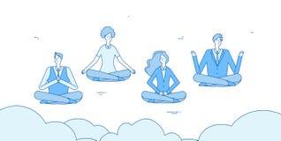 Uomini d'affari di meditazione La gente si rilassa nel loto di yoga di zen che posiziona nell'ufficio Gli impiegati evitano il co royalty illustrazione gratis