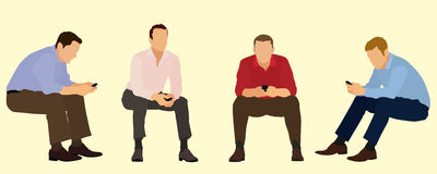 Uomini d'affari di seduta facendo uso dei telefoni cellulari Fotografie Stock