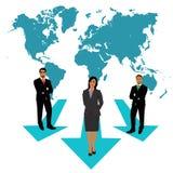 Uomini d'affari e donna di affari che operano le scelte, mappa di mondo, concetto di affari, apps, illustrazione di vettore nella Fotografie Stock Libere da Diritti