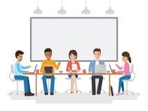 Uomini d'affari e riunione delle donne di affari illustrazione vettoriale