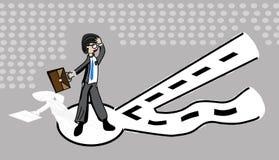 Uomini d'affari e selezione di percorso nel lavoro con una posizione stabile e un avanzamento finanziario, illustrazione - vettor illustrazione vettoriale