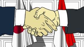 Uomini d'affari o politici che stringono le mani contro le bandiere del Giappone e dell'Indonesia Riunione o fumetto relativo di  illustrazione vettoriale