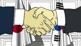 Uomini d'affari o politici che stringono le mani contro le bandiere del Giappone e della Corea Riunione o fumetto relativo di coo royalty illustrazione gratis