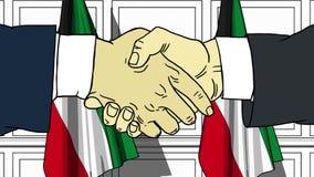 Uomini d'affari o politici che stringono le mani contro le bandiere del Kuwait Animazione relativa del fumetto di cooperazione o  royalty illustrazione gratis