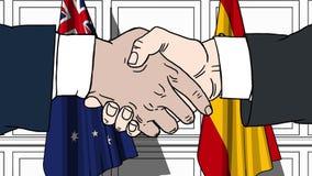 Uomini d'affari o politici che stringono le mani contro le bandiere dell'Australia e della Spagna Riunione o fumetto relativo di  illustrazione vettoriale