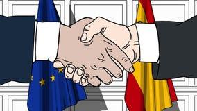 Uomini d'affari o politici che stringono le mani contro le bandiere dell'UE e della Spagna Animazione relativa del fumetto di coo illustrazione di stock