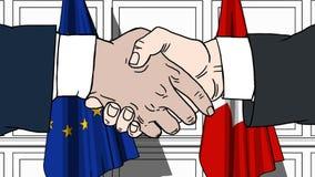 Uomini d'affari o politici che stringono le mani contro le bandiere dell'UE e della Svizzera Riunione o fumetto relativo di coope illustrazione di stock