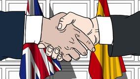 Uomini d'affari o politici che stringono le mani contro le bandiere della Gran Bretagna e della Spagna Riunione o cooperazione ri illustrazione vettoriale