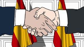 Uomini d'affari o politici che stringono le mani contro le bandiere della Spagna Animazione relativa del fumetto di cooperazione  illustrazione di stock