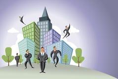 Uomini d'affari sopra la città Immagini Stock Libere da Diritti