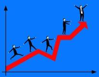 Uomini d'affari sulla freccia rossa Fotografia Stock Libera da Diritti
