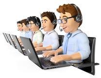 uomini 3D che lavorano in una call center Immagini Stock