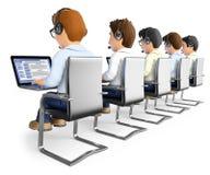 uomini 3D che lavorano in una call center Fotografia Stock