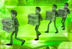 uomini 3d che prendono gli archivi nell'illustrazione della coda Immagine Stock