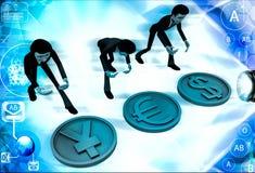 uomini 3d con l'illustrazione del segno dell'euro e di Yen del dollaro Fotografie Stock
