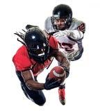 Uomini dei giocatori di football americano isolati fotografia stock libera da diritti