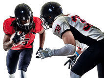 Uomini dei giocatori di football americano isolati immagini stock libere da diritti