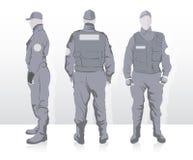 Uomini del disegno in uniforme Fotografia Stock