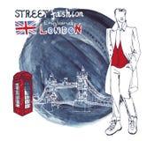 Uomini del tizio di modo di Londra Spruzzata dell'inchiostro dell'acquerello illustrazione di stock