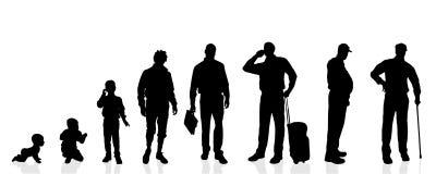 Uomini della generazione della siluetta di vettore Fotografia Stock