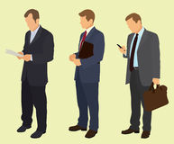 Uomini di affari che aspettano nella coda Immagini Stock